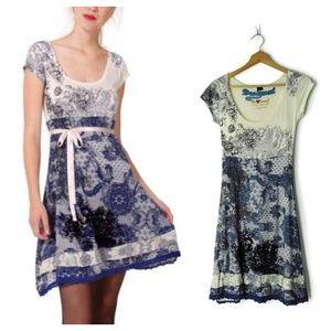 Desigual Lanoria Short Dress floral lace velour
